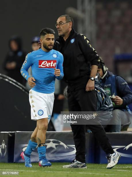 Lorenzo Insigne of SSC Napoli coach Maurizio Sarri of SSC Napoliduring the UEFA Champions League round of 16 match between SSC Napoli and Real Madrid...
