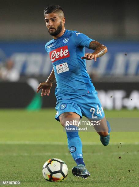 Lorenzo Insigne of SSC Napoli in action during the Serie A match between Hellas Verona and SSC Napoli at Stadio Marcantonio Bentegodi on August 19...