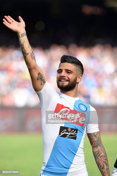 Lorenzo Insigne of SSC Napoli in action during the Serie A match between SSC Napoli and FC Crotone at Stadio San Paolo on March 12 2017 in Naples...