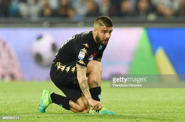 Lorenzo Insigne of SSC Napoli in action during the Serie A match between SSC Napoli and Udinese Calcio at Stadio San Paolo on April 15 2017 in Naples...