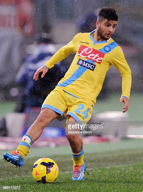Lorenzo Insigne of SSC Napoli in action during the TIM Cup match between AS Roma and SSC Napoli at Olimpico Stadium on February 5 2014 in Rome Italy