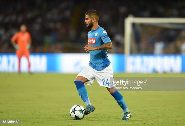 Lorenzo Insigne of SSC Napoli in action during the UEFA Champions League Qualifying PlayOffs Round First Leg match between SSC Napoli and OGC Nice at...