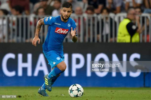 Lorenzo Insigne of SSC Napoli in action during the UEFA Champions League Qualifying PlayOffs Round Second Leg match between OGC Nice and SSC Napoli...