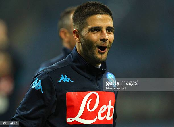 Lorenzo Insigne of SSC Napoli salutes the fans at the end of the Serie A match between AC Milan and SSC Napoli at Stadio Giuseppe Meazza on October 4...