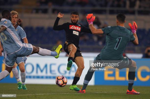 Lorenzo Insigne of SSC Napoli scores the team's second goal during the Serie A match between SS Lazio and SSC Napoli at Stadio Olimpico on April 9...