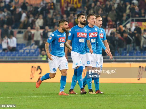 Lorenzo Insigne Piotr Zielinski Elseid Hysaj Marko Rog during the Italian Serie A football match between AS Roma and SSC Napoli at the Olympic...