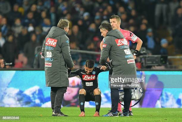 Lorenzo Insigne player of SSC Napoli injured during the Serie A match between SSC Napoli and Juventus at Stadio San Paolo on December 1 2017 in...