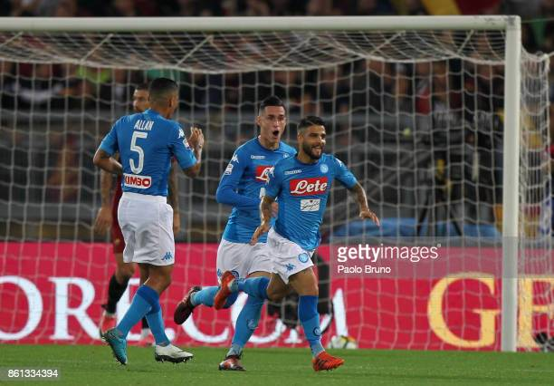Lorenzo Insigne with his teammates Allan and Jose' Callejon of SSC Napoli celebrates after scoring the opening goal during the Serie A match between...