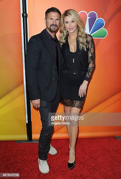 Lorenzo Lamas and Brandi Glanville arrive at NBCUniversal's 2015 Winter TCA Tour Day 2 at The Langham Huntington Hotel and Spa on January 16 2015 in...