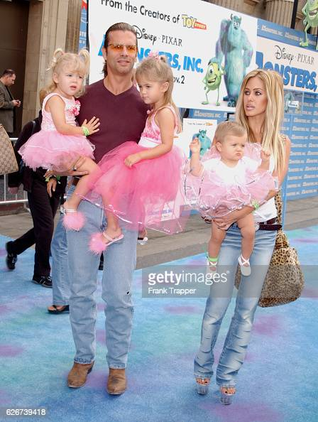Lorenzo Lamas and wife Shauna with their daughters Victoria Alexandra and Isabella at the premiere of Disney/Pixar's 'Monsters Inc'