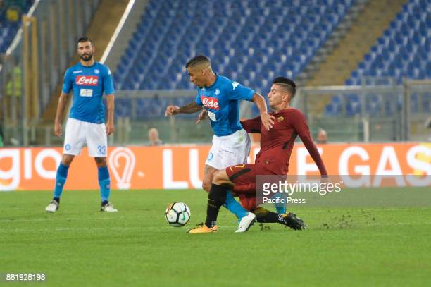 Lorenzo Pellegrini Allan Marques Loureiro during the Italian Serie A football match between AS Roma and SSC Napoli at the Olympic Stadium in Rome on...