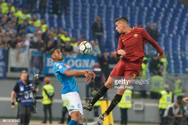 Lorenzo Pellegrini and Faouzi Ghoulam during the Italian Serie A football match between AS Roma and SSC Napoli at the Olympic Stadium in Rome on...