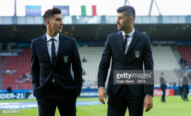 Lorenzo Pellegrini and Marco Benassi of Italy before their UEFA European Under21 Championship 2017 semifinal match against Spain on June 27 2017 in...