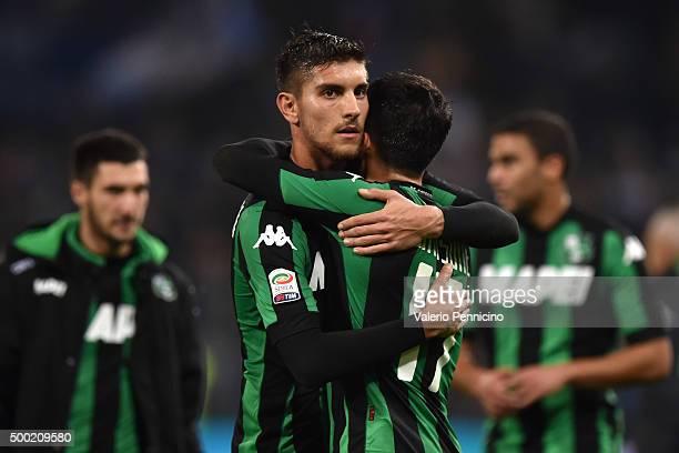 Lorenzo Pellegrini and Nicola Sansone of US Sassuolo Calcio celebrate victory at the end of the Serie A match between UC Sampdoria and US Sassuolo...