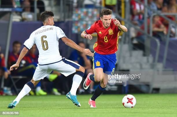Lorenzo Pellegrini and Saul Niguez during the UEFA European Under21 match between Spain and Italy on June 27 2017 in Krakow Poland