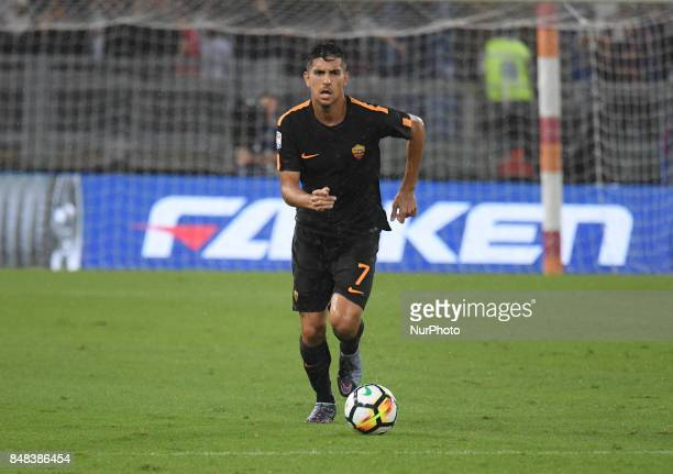 Lorenzo Pellegrini during the Italian Serie A football match between AS Roma and FC Hellas Verona at the Olympic Stadium in Rome on september 16 2017