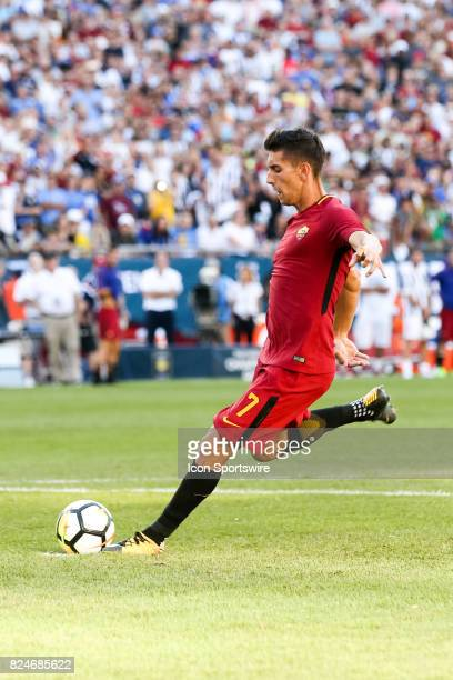 Lorenzo Pellegrini of AS Roma during the International Champions Cup match between Juventus and AS Roma on July 30 2017 at Gillette Stadium in...