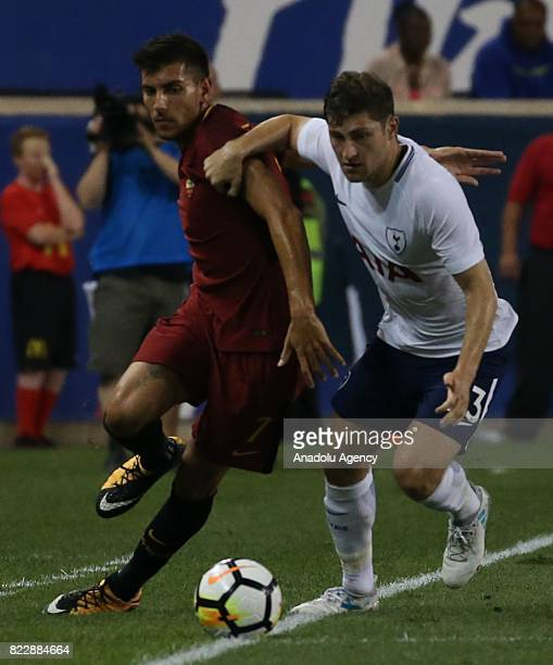 Lorenzo Pellegrini of AS Roma in action against Davies of Tottenham Hotspur during a friendly match between AS Roma and Tottenham within...