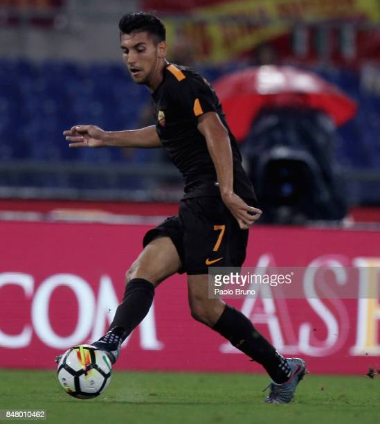Lorenzo Pellegrini of AS Roma in action during the Serie A match between AS Roma and Hellas Verona FC at Stadio Olimpico on September 16 2017 in Rome...