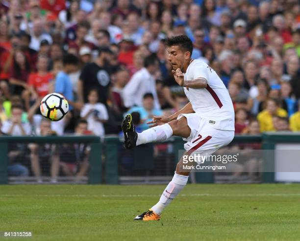 Lorenzo Pellegrini of AS Roma kicks the ball during the International Champions Cup soccer match against Paris SaintGermain at Comerica Park on July...