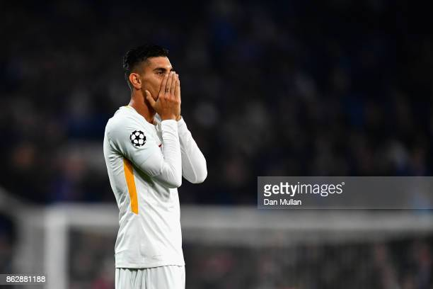 Lorenzo Pellegrini of AS Roma reacts after the full time whistle during the UEFA Champions League group C match between Chelsea FC and AS Roma at...