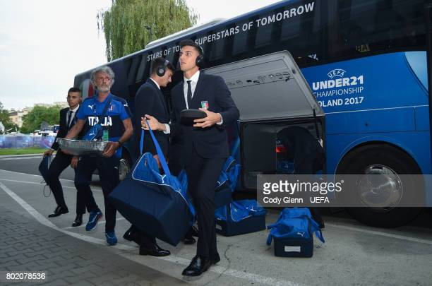 Lorenzo Pellegrini of Italy arrives before their UEFA European Under21 Championship 2017 semifinal match against Spain on June 27 2017 in Krakow...