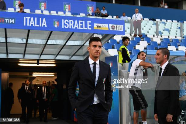 Lorenzo Pellegrini of Italy arrives prior to the FIFA 2018 World Cup Qualifier between Italy and Israel at Mapei Stadium Citta' del Tricolore on...