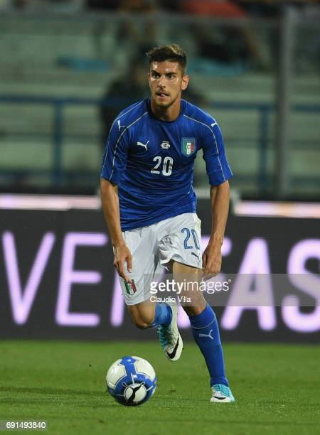 Lorenzo Pellegrini of Italy in action during the international friendy match played between Italy and San Marino at Stadio Carlo Castellani on May 31...