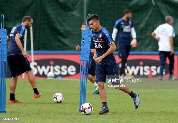 Lorenzo Pellegrini of Italy in action during the training session at Italy club's training ground at Coverciano on September 01 2017 in Florence Italy