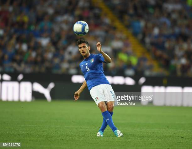 Lorenzo Pellegrini of Italy in ation during the FIFA 2018 World Cup Qualifier between Italy and Liechtenstein at Stadio Friuli on June 11 2017 in...