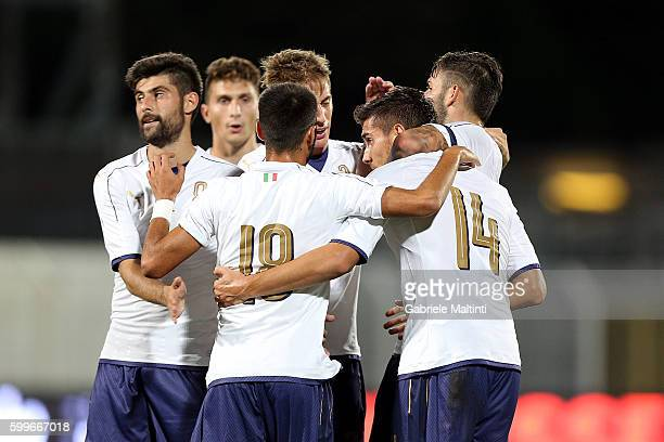 Lorenzo Pellegrini of Italy U21 celebrates after scoring a goal during the UEFA European U21 Championships Qualifier match between Italy U21 and...