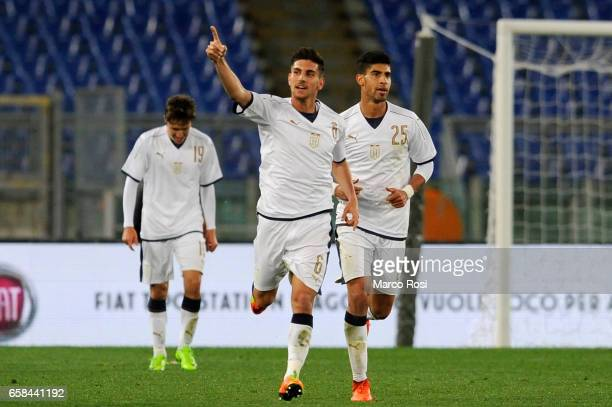 Lorenzo Pellegrini of Italy U21 celebrates with his team mate a frist goal during the international friendly match between Italy U21 and Spain U21 at...