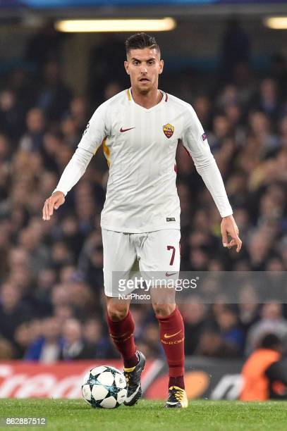 Lorenzo Pellegrini of Roma during the UEFA Champions League match between Chelsea v AS Roma at Stamford Bridge Stadium London United Kingdom on 18...