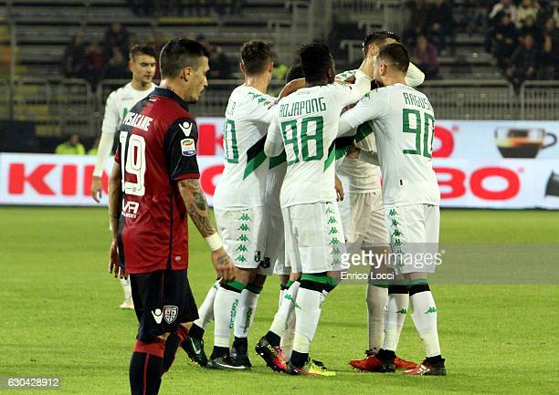 Lorenzo Pellegrini of Sassuolo celebrates with teammates after scoring a goal to make it 12 during the Serie A match between Cagliari Calcio and US...