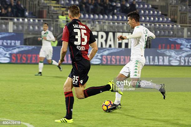 Lorenzo Pellegrini of Sassuolo scores the goal during the Serie A match between Cagliari Calcio and US Sassuolo at Stadio Sant'Elia on December 22...