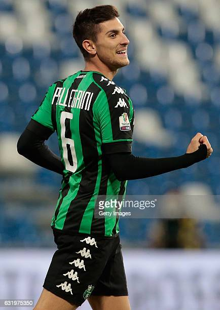 Lorenzo Pellegrini of US Sassuolo Calcio celebrates after scoring the opening goal during the TIM Cup match between US Sassuolo and AC Cesena at...