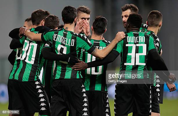 Lorenzo Pellegrini of US Sassuolo Calcio celebrates with his teammates after scoring the opening goal during the TIM Cup match between US Sassuolo...
