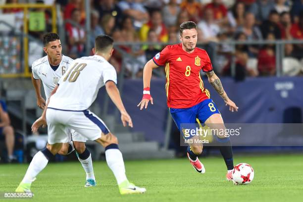 Lorenzo Pellegrini Roberto Gagliardini Saul Niguez during the UEFA European Under21 match between Spain and Italy on June 27 2017 in Krakow Poland