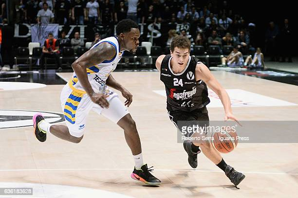 Lorenzo Penna of Segafredo competes with Michael Antonio Frazier of Tezenis during the match of LNP LegaBasket Serie A2 between Virtus Segafredo...