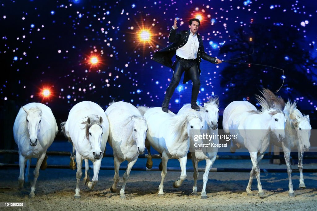 Lorenzo rides on his horses during the Equitana Hop Top Show at Grugahalle on March 23, 2013 in Essen, Germany.