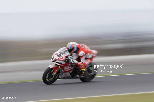 Lorenzo Savadori of Italy and Milwaukee Aprilia heads down a straight during practice ahead of round one of the FIM World Superbike Championship at...