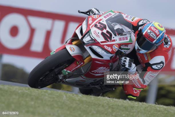 Lorenzo Savadori of Italy and Milwaukee Aprilia rounds the bend during practice ahead of round one of the FIM World Superbike Championship at Phillip...