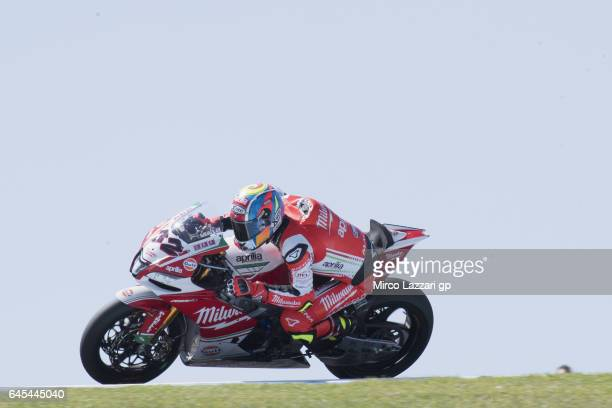 Lorenzo Savadori of Italy and Milwaukee Aprilia rounds the bend during the race 2 during round one of the FIM World Superbike Championship at Phillip...