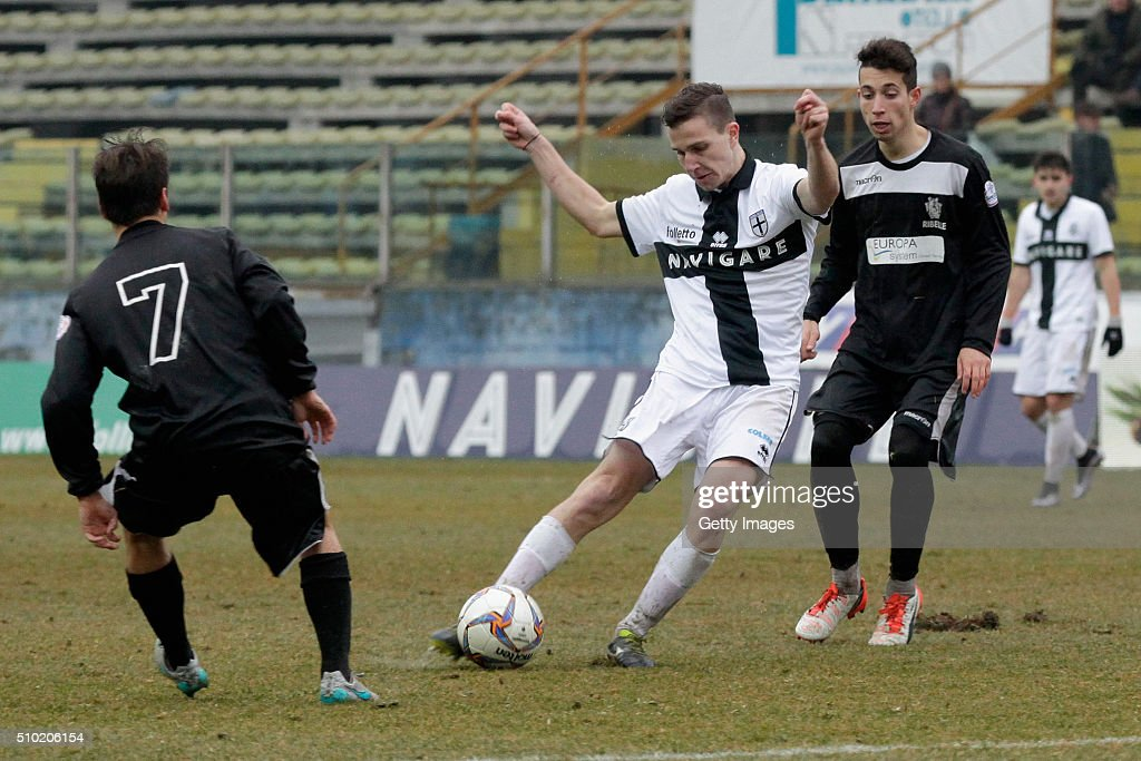 Lorenzo Simonetti of Parma in action during the Serie D match between Parma Calcio 1913 and Ribelle at Stadio Ennio Tardini on February 14, 2016 in Parma, Italy.