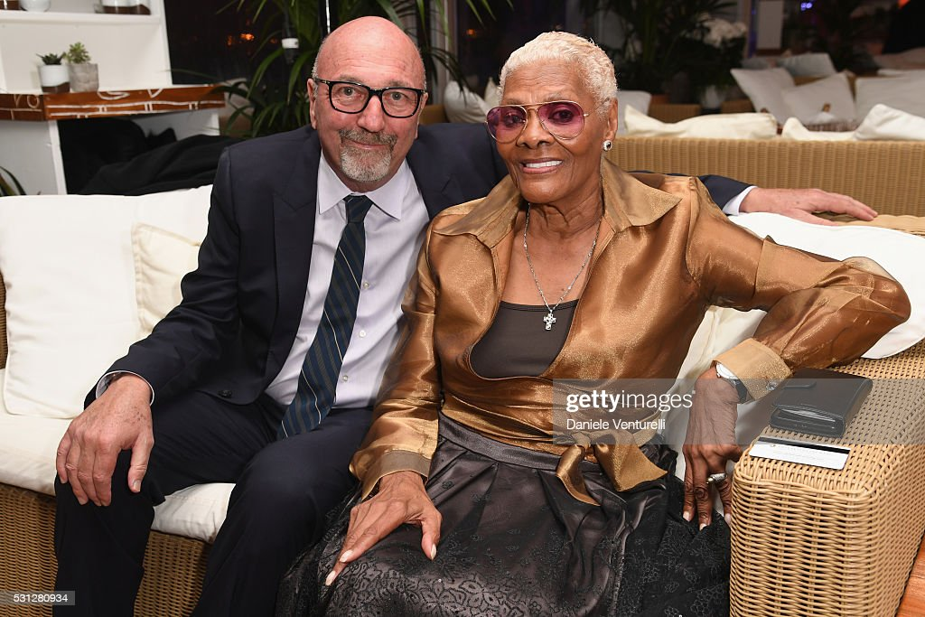 Lorenzo Soria and Dionne Warwick attend The Hollywood Foreign Press Association Honour Filmaid International party during The 69th Annual Cannes Film...