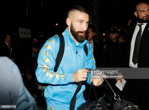 Lorenzo Tonelli arrives at the team hotel one day before their Champion League round of 16 firstleg match against Real Madrid on February 14 2017 in...