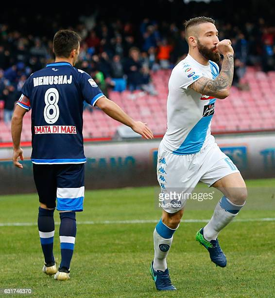 Lorenzo Tonelli celebrates after scoring during the Italian Serie A match between SSC Napoli and Pescara at San Paolo Stadium in Naples Italy Jan...