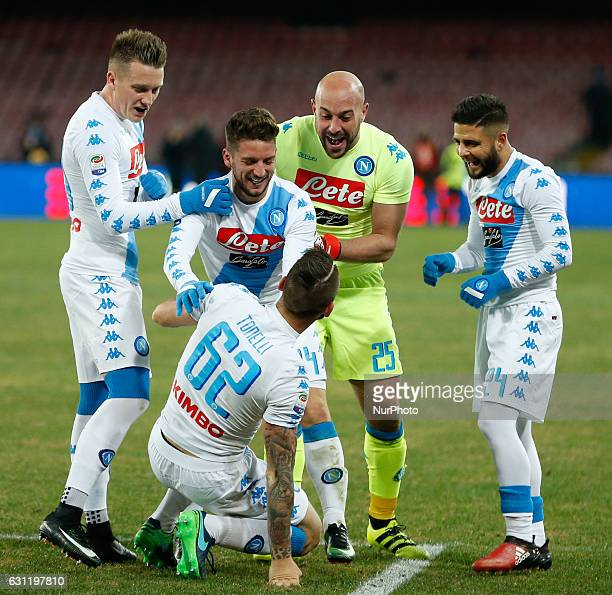 Lorenzo Tonelli celebrates after scoring the 21 during the Italian Serie A match between SSC Napoli and Sampdoria at San Paolo Stadium in Naples...