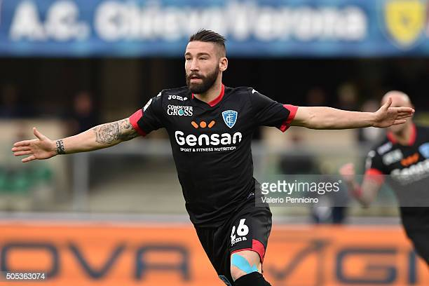Lorenzo Tonelli of Empoli FC celebrates a goal during the Serie A match between AC Chievo Verona and Empoli FC at Stadio Marc'Antonio Bentegodi on...