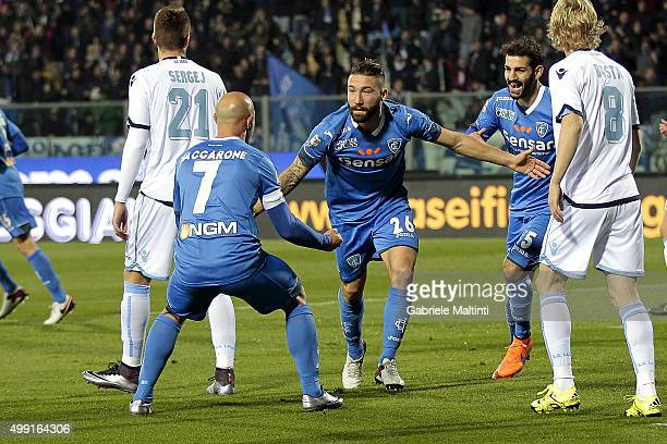 Lorenzo Tonelli of Empoli FC celebrates after scoring a goal during the Serie A match between Empoli FC and SS Lazio at Stadio Carlo Castellani on...